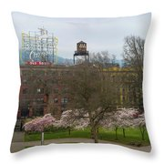 Cherry Blossoms Trees In Portland Old Town Throw Pillow