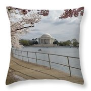 Cherry Blossoms With Memorial Throw Pillow