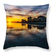 Cherry Grove Beach Front Sunset Throw Pillow