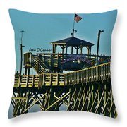Cherry Grove Pier - Closeup End Of Pier Throw Pillow