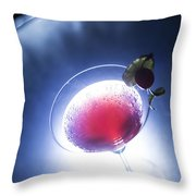 Cherry Martini Cocktail Drink At Night Throw Pillow