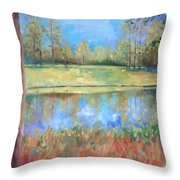 Cherry Moon Pond Throw Pillow