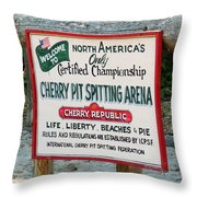 Cherry Pit Spitting Throw Pillow