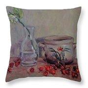 Cherry Still Life Pottery Red Still Life Art Still Life Painting Impressionist Painting Impression Throw Pillow