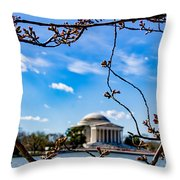 Cherry Tree Buds Throw Pillow