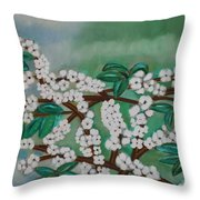 Cherry Tree Rich In Flowers Throw Pillow