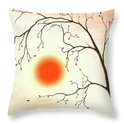 Cherry Tree In Fall Throw Pillow