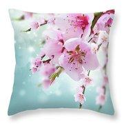 Cherry Tree Twig On Blue Throw Pillow