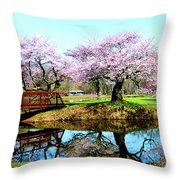 Cherry Trees In The Park Throw Pillow