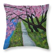 Cherry Trees- Pink Blossoms- Landscape Painting Throw Pillow