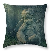 Cherub Lost In Thoughts Throw Pillow