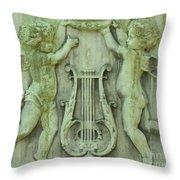 Cherubs In Moss Green Throw Pillow