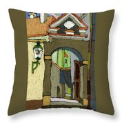 Chesky Krumlov Old Street Latran  Throw Pillow