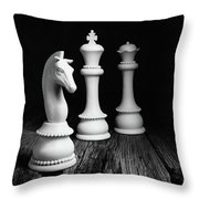 Chess Pieces On Old Wood Throw Pillow