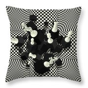 Chessboard And 3d Chess Pieces Composition Throw Pillow