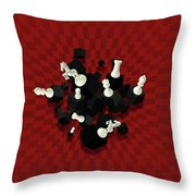 Chessboard And 3d Chess Pieces Composition On Red Throw Pillow