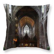 Chester Cathedral England Uk Inside The Nave Throw Pillow