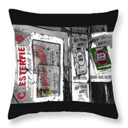 Chesterfield And Lucky Strike Cigarette Signs S. Meyer Avenue Barrio, Tucson, Az 1967-2016 Throw Pillow