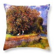 Chestnut Tree Blooming 1881 Throw Pillow