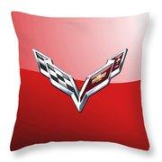 Chevrolet Corvette - 3d Badge On Red Throw Pillow