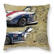 Chevrolet Corvette Convertible L88 1968,original Fast Race Car. Two Drawings, One Print Throw Pillow