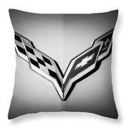 Chevrolet Corvette Emblem -0406bw Throw Pillow