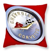Chevrolet Corvette Hood Ornament Throw Pillow