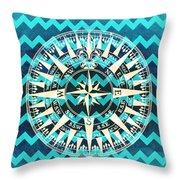 Chevron Print Compass Blue Throw Pillow
