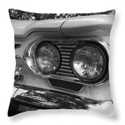 Chevy Corvair Headights And Bumper Black And White Throw Pillow