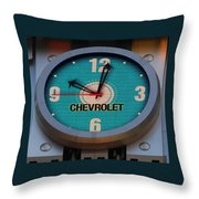 Chevy Neon Clock Throw Pillow