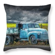 Chevy Truck Stranded By The Side Of The Road Throw Pillow