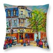 Chez Vito Rue Fairmount Landmark Architecture Beautiful Summer Scene Montreal 375 Carole Spandau Art Throw Pillow