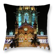 Chhatrapati Shivaji Terminus Formerly Victoria Terminus In Mumbai-3 Throw Pillow