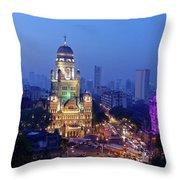 Chhatrapati Shivaji Terminus V.t. And Municipality Head Office In Mumbai. Throw Pillow