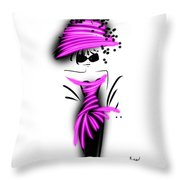 Chic In Pink Silk Couture  Throw Pillow
