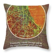 Chicago 1957 Old Map, Chicago Frank Lloyd Wright Quote Throw Pillow