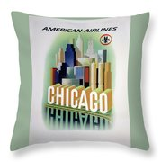 Chicago American Airlines 1950 Throw Pillow