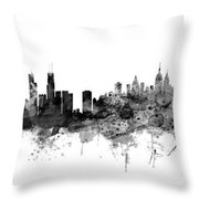 Chicago And New York City Skylines Mashup Throw Pillow