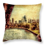 Chicago Approaching The City In June Textured Throw Pillow