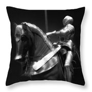 Chicago Art Institute Armored Knight And Horse Bw 01 Throw Pillow