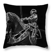 Chicago Art Institute Armored Knight And Horse Bw Pa 02 Throw Pillow