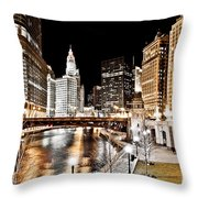 Chicago At Night At Wabash Avenue Bridge Throw Pillow