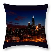 Chicago At Night Throw Pillow
