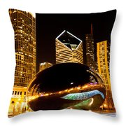 Chicago Bean Cloud Gate At Night Throw Pillow by Paul Velgos