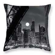 Chicago Black And White Nights Throw Pillow