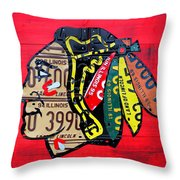 Chicago Blackhawks Hockey Team Vintage Logo Made From Old Recycled Illinois License Plates Red Throw Pillow