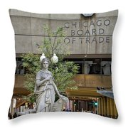 Chicago Board Of Trade Signage Throw Pillow