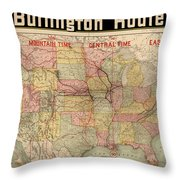 Chicago, Burlington Route System Map, 1892. Throw Pillow