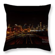 Chicago By Night Throw Pillow