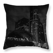 Chicago Cloud Gate Night Throw Pillow
